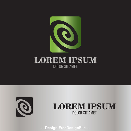 circle swirl in square logo vector
