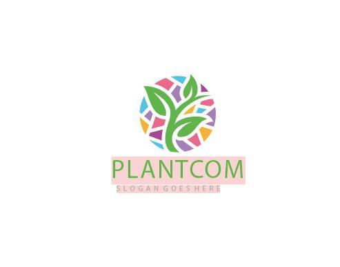 colorful plant logo vector