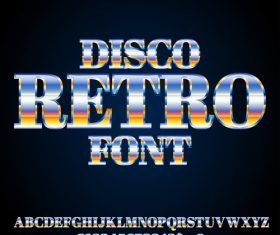 disco retro font vector