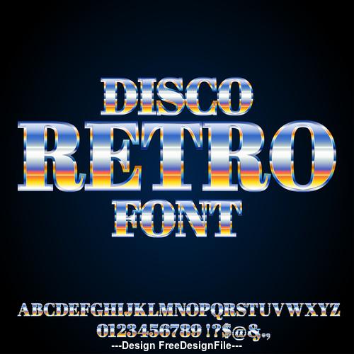 disco retro font vector