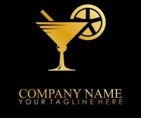 drink glass gold logo vector