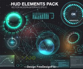 hud elements pack backgrounds vector 01