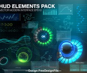 hud elements pack backgrounds vector 03