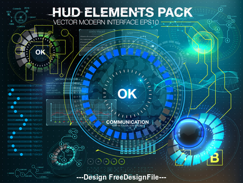 hud elements pack backgrounds vector 04