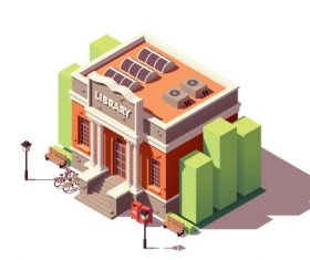 isometric building library vector
