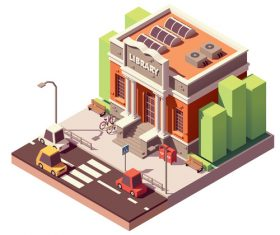 library vector isometric building