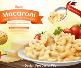 macaroni ads with cheese sauce and tomatoesin 3d illustration