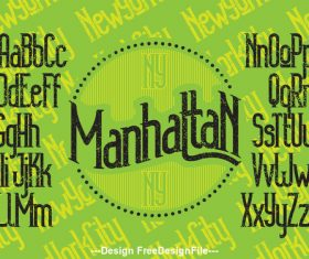 manhattan NY font green vector