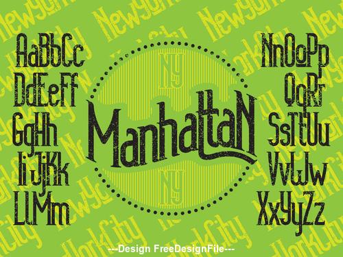 manhattan NY font green vector