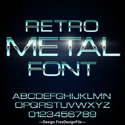 metal retro font vector