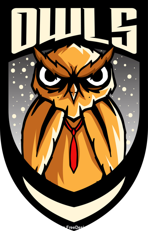 orange owls mascot esports logo vector
