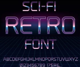 sci-fi retro font vector