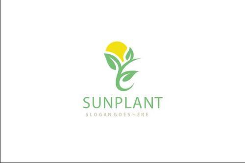 sun plant logo vector