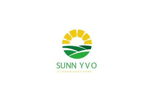 sunny farm logo vector