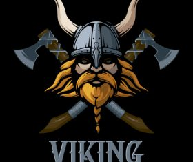 viking beard skull axe vector illustration
