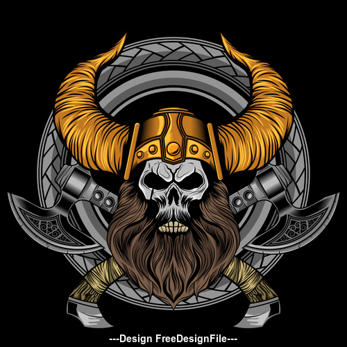 viking beard skull axe vector illustration art in circle ornament