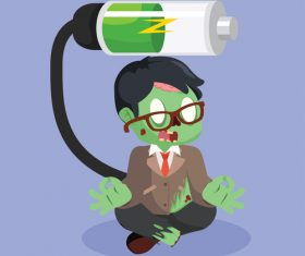 zombie businessman charging vector