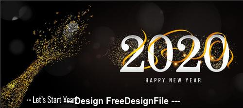 2020 New Year greeting card and gold font vector