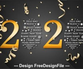 2020 art font New Year greeting card vector