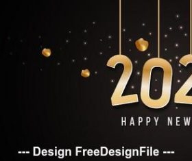 2020 black background golden font new year greeting card vector