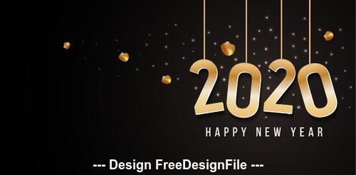 2020 black background golden font new year greeting card vector free download 2020 black background golden font new