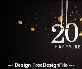 2020 black background golden highlights new year greeting card vector