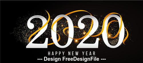 2020 black background new year greeting card vector