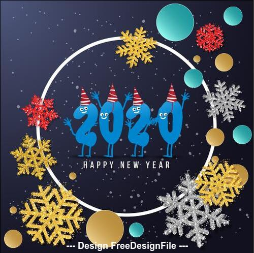2020 christmas greeting card vector free download