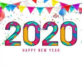 2020 christmas white background greeting card banner vector