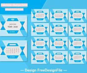 2020 geometric pattern new year calendar design vector
