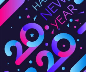 2020 happy new year blue red stripes illustration vector.