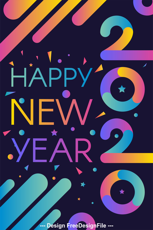 2020 happy new year colorful stripes illustration vector