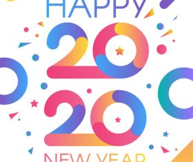 2020 happy new year tricolor striped illustration vector