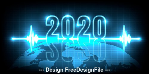 2020 new year blue light wave background vector