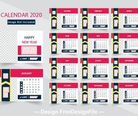 2020 new year calend design vector
