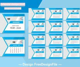 2020 new year calendar design vector 03