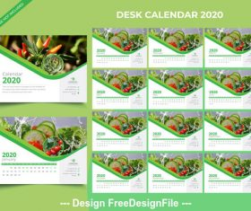 2020 new year desk calendar green background vector