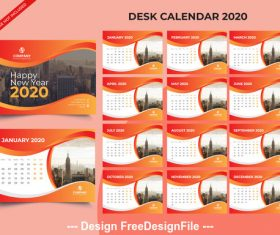 2020 new year desk calendar vector