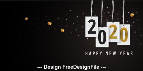 2020 new year greeting card vector free download