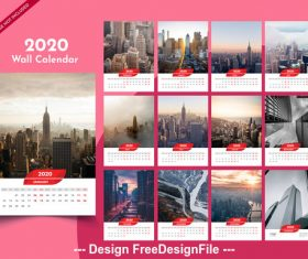2020 new year wall calendar pink background vector