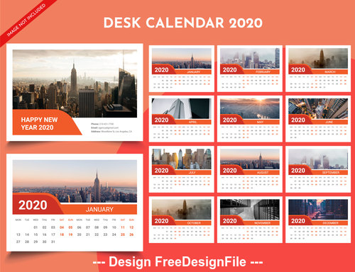 2020 new year wall calendar red background vector