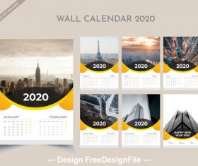2020 new year wall calendar vector