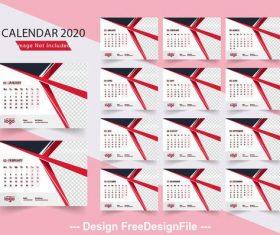 2020 simple calendar vector