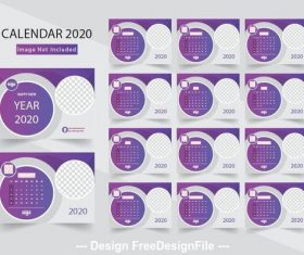 2020 white background desktop calendar vector