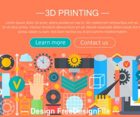 3d printing modern flat design concept vector
