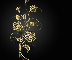 Abstract blooming golden flower background vector