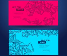Abstract geometric blue and red template card vector