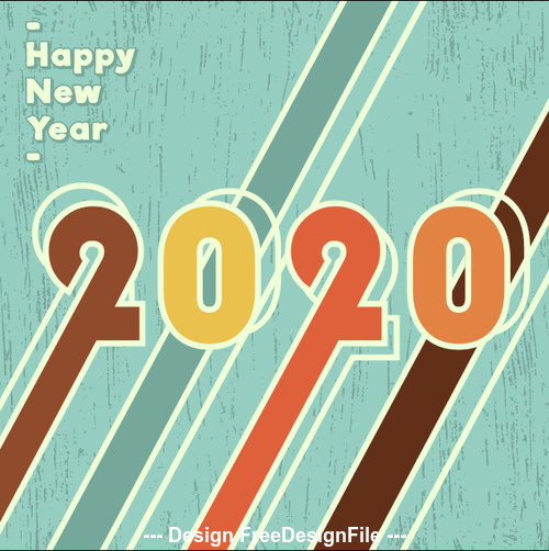 Abstract watercolor 2020 new year background vector