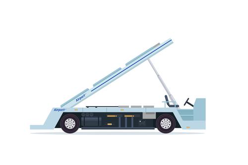 Airport cargo delivery car cartoon vector