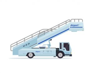 Airport mobile aircraft landing stairs cartoon vector